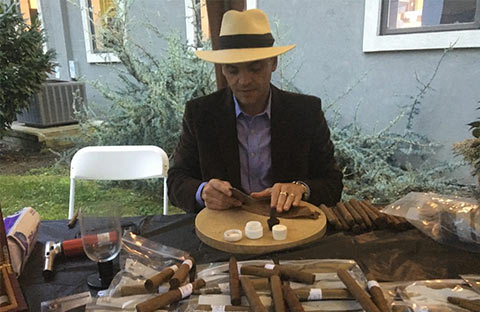 Guest enjoyed hand rolled cigars compliments of Dr Tom Panitvc