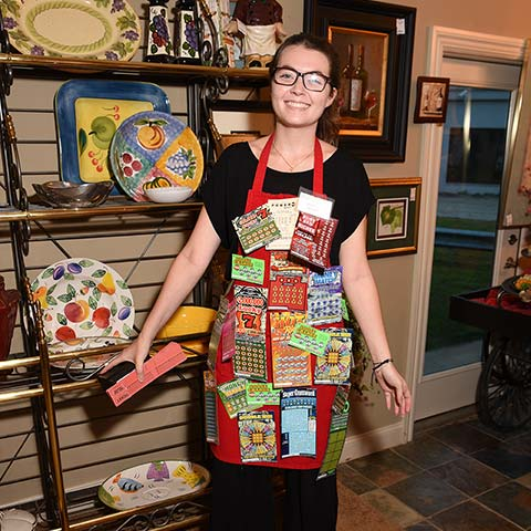 Kayla Neary modeling the Lottery Apron, a big hit in the silent auction