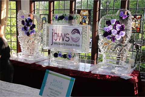 Grand event total to benefit the many services of JBWS - over $540,000!!!  Ice Sculptures by Jimmy's Artistic Creations.